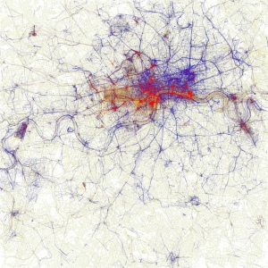 Map of London showing local and tourist Flickr photos