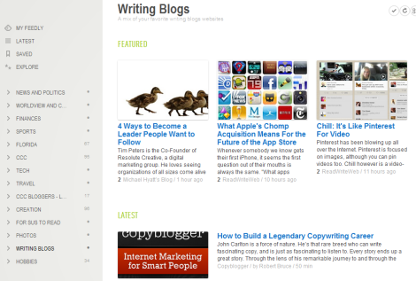 My Feedly section on blogging