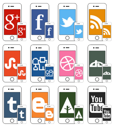 iPhone social icons